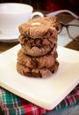Chocolate with almond slices cookies close up Royalty Free Stock Photography