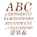 Chocolate alphabet upper case italic associated with each type of and coffee can be used in the design of Stock Images