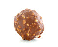 Chocolate ball with almond on white background Stock Image