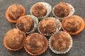 Chocolate balls truffle with rum and raisins Royalty Free Stock Photos