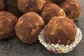 Chocolate balls truffle with rum and raisins Stock Photos
