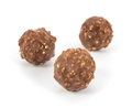 Chocolate balls on a white background Royalty Free Stock Images