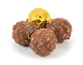 Chocolate balls on a white background Stock Image