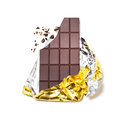 Chocolate bar broken wrapped in foil on white background Stock Photography