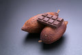 Chocolate bar and dried cocoa pod on black background