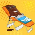 Chocolate bar melts on beach pop art retro vectorr. Cartoon food character. Color background. Comic book style imitation