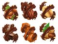 Chocolate bar, nuts, caramel, cocoa bean in chocolate splash. 3d vector