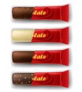 Chocolate bar in package set white milk and dark red Stock Photo