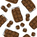 Chocolate bar seamless pattern. Background for chocolate and cocoa packaging - labels and background in trendy linear style. Choco