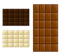 Chocolate bar set white milk and dark Stock Photography