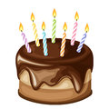 Chocolate birthday cake with candles. Vector illustration.