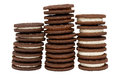 Chocolate Biscuits in Three Piles Royalty Free Stock Photo