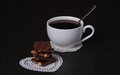Chocolate black coffee in white cup Royalty Free Stock Image