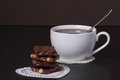 Chocolate black coffee in white cup Stock Photography