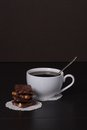 Chocolate black coffee in white cup Royalty Free Stock Photos