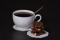 Chocolate black coffee in white cup Stock Images