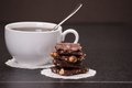 Chocolate black coffee in white cup Royalty Free Stock Photo
