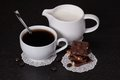 Chocolate black coffee in white cup Stock Photos