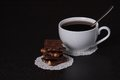 Chocolate black coffee in white cup Royalty Free Stock Images