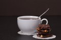 Chocolate black coffee in white cup Royalty Free Stock Photography