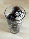 Chocolate bonbons in glass gourmet Stock Photography