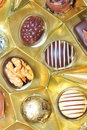 Chocolate bonbons a veriety of chocolates with different fillings Stock Images