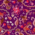 Chocolate box design. Ethnic seamless pattern with paisley, flowers and magic bird in vector isolated on dark purple background