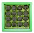 Chocolate box on white Stock Images