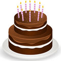 Chocolate brithday cake and candles Royalty Free Stock Photo