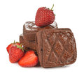 Chocolate brownie with strawberries Royalty Free Stock Photo
