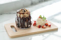 chocolate brownies with vanilla ice-cream