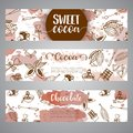 Chocolate cacao sketch banners. Design menu for restaurant, shop, confectionery, culinary, cafe, cafeteria, bar. Cocoa Royalty Free Stock Photo