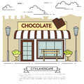 Chocolate cafe with lamps, flowers and bench Lineout Royalty Free Stock Photo