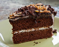 Chocolate cake with almonds a piece of Royalty Free Stock Photography