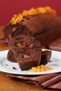 Chocolate cake with candied orange peel Royalty Free Stock Images