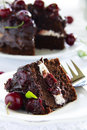 Chocolate cake with cherries Royalty Free Stock Photo