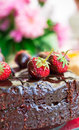 Chocolate cake with chocolate icing on a background of flowers Royalty Free Stock Photos