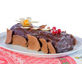 Chocolate cake with Christmas decoration Stock Photos