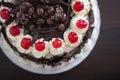 Chocolate cake with cream and cherries. Royalty Free Stock Photo