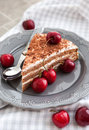 Chocolate cake with cream decorated with fresh cherry the piece of Stock Image