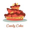 Chocolate cake with cream and lemon logo