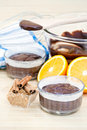 Chocolate cake and ingredients Royalty Free Stock Photos