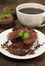 Chocolate cake with nuts and mint Stock Photo