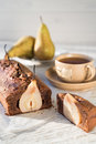 Chocolate cake with pears a Stock Photo