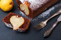 Chocolate cake with pears close-up Royalty Free Stock Photo