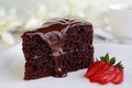 Chocolate cake piece of with warm fudge sauce Stock Photography
