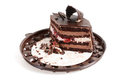 Chocolate cake on a plastic plate Royalty Free Stock Images