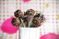 Chocolate cake pops with colorful sprinkles Royalty Free Stock Images