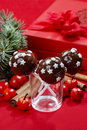Chocolate cake pops decorated with sugar stars Royalty Free Stock Images