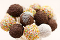 Chocolate cake pops with decoration Royalty Free Stock Images
